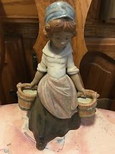 Lladro 3512 Girl with Two Pails Retired! Mint Condition! Gres Finish! L@K!