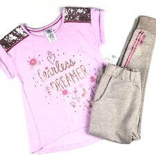 Disney Store Girls Tee Shirt and Joggers Set Sz 5/6 Pink Beaded Sequin Shimmer