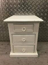 Lovely Solid Wood White Painted Small Bed/Sofa Side Set of 3 Drawers