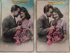 """2 Cartes postales bromure """"vive St-Nicolas """" COUPLE"""""""