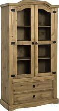 Seconique CORONA Distressed Mexican Pine 1 Door 2 Drawer Glass Display Unit