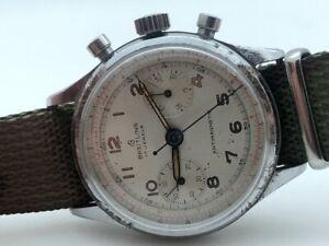 1950's BREITLING Chronograph 36.5mm ORIGINAL MILITARY DIAL MANUAL WIND RUNS