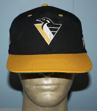 Vintage 90s Pittsburgh Penguins Talk Back Black Snapback Hat Cap