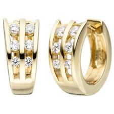 Creolen 925 Silber vergoldet Kreolen Ohrringe weiß gold Zirkonia Ohrschmuck