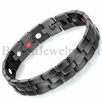 "8.5"" Mens Black Stainless Steel Magnetic Biker Link Chain 12MM Width Bracelet"