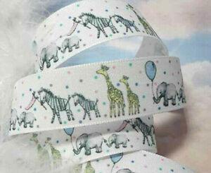 1m x 25mm  Berisfords White Baby Boy & Girl Ribbon Elephants, Zebra & Giraffes