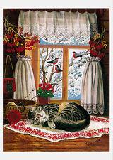 VERY RARE Cat sleeps by the window by Rodionova Russian modern postcard