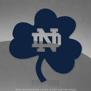 """Notre Dame Shamrock ND Logo Vinyl Decal Sticker - 4"""" and Up - More Colors"""