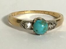 Victorian or Edwardian Antique Rose Gold Turquoise Cab & Rose Cut Diamond Ring