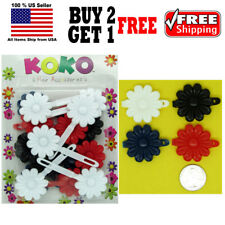 Girls Kids Black Red White Navy Daisy Flower Hair Barrettes Snap Clips Holder