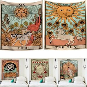 Mandala Tarot Card Indian Tapestry Hippie Sun and Moon Wall Hanging Home Decor