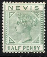 St Kitts-Nevis 1882 dull-green 1/2d crown CA perf 14 mint SG25