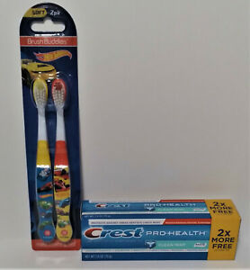 Hot Wheels Kids Toothbrush 2 Pack Red and Yellow With Crest Toothpaste