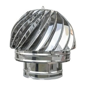 Spinning Chimney Cowl ø100 - ø230mm Stainless Steel Camin Ventilation Aspiration