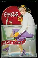 Coca Cola Diner Mädchen Geprägt Stahl Wandschild 300mm x 200mm (Hi )