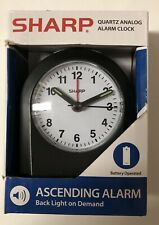 Sharp Quartz Analog Black Ascending Alarm Clock Battery Operated New