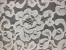 "VTG CREAM/Beige Embroidered Net Lace Alencon FLoral FABRIC 5+ YARDS 36"" W"