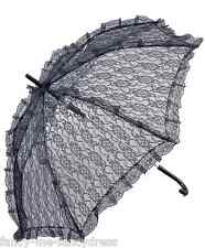 Ladies Black Lace Parasol Gothic Umbrella Halloween Fancy Dress Costume Prop