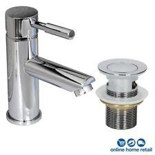 Modern Bathroom Mono Basin Sink Mixer Tap Slotted Waste Single Lever Chrome