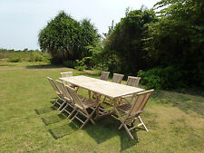 Salon de jardin avec table rectangle BATAN avec 8 chaises pliantes JALANG
