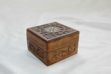 Vintage WOODEN Box SOLID WOOD Profusely CARVED Inlay Antique TRINKET Jewellery