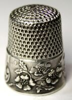 """Antique Ketcham & McDougall Sterling Silver Thimble """"Wild Roses""""  """"Grace"""" C1900s"""