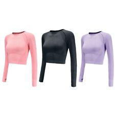 Women Yoga Long Sleeve T-Shirt Gym Crop Top Fitness Running Sports Suit Us