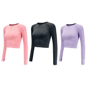Women Gym Sports Shirt Yoga Top Fitness Long Sleeve T-Shirt Crop Tops