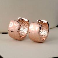 Women's Earrings 18k Rose Gold Filled 15MM Hoop 8mm GF Fashion Jewelry