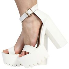 Womens Ladies Ankle Strap Platform High Heel Cleated Sandals Shoes Size 3-8 White PU UK 5 EU 38