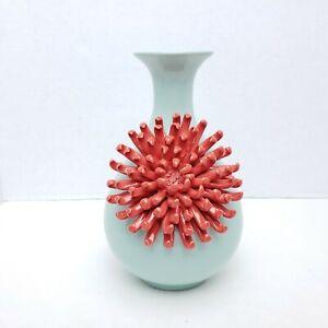 Rare Anthropologie Ceramic Blue Mint Vase Red Bud Bloom Chrysanthemum Flower