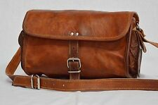 Vintage leather messenger sling cross body purse brown handmade bag for ladies
