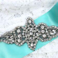 Vintage Black Star Diamante Beaded Rhinestone Crystal Wedding Bridal Applique