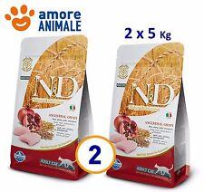 2 SACCHI Farmina N&D Low Grain Pollo e Melagrano 5 kg per Gatto