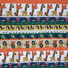Vintage 1980s Jungle Animal Knit Fabric 2 Yds X 60 Wide T-Shirt Orange Zebra Kid