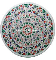 "30"" White Marble Coffee Table Top Inlaid Carnelian Malachite Floral Decors H980"