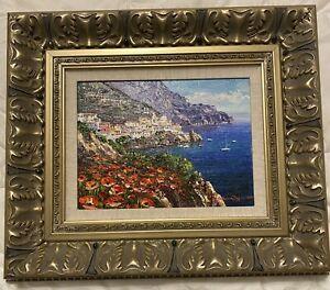 "SAM PARK Original Oil Painting On Canvas ""Amalfi P2532"" 21 1/2 X 17 1/2 Framed."