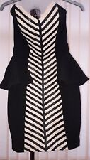 Lipsy Size 8 sleeveless Black Bodycon front cream pattern panel  formal dress