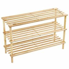 3 Tier Slated Shoe Rack Shelves Unit Natural Stand Holder New By Home Discount