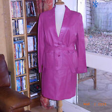 TAILLEUR CUIR ROSE FUSCHIA VINTAGE 80 TAILLE 40 / PINK LEATHER JACKET & SKIRT