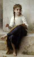 Dream-art Oil painting Bouguereau - Portrait Nice young girl Sewing canvas 36""