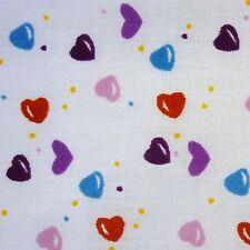 Algodón Blanco Rojo Azul Rosa Corazones Púrpura Dots Tela PM