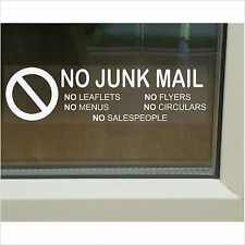 No Junk Mail,Leaflets,Menus,Flyers,Circulars,Salespeople-Window Sticker Sign