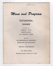 1945 NEW BEDFORD HOTEL Menu Program AEROVOX Testimonial MASSACHUSETTS Siegel