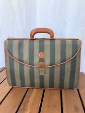FENDI ZUCCA Black/Tand Canvas and Brown Leather Trim Double Flat Briefcase