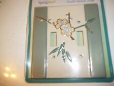 SPRINGMAID DOUBLE SWITCH PLATE COVER FLOWER GREEN/CREAM WALL LIGHT SWITCH COVER