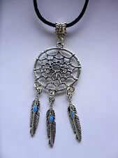 """A  Dream Catcher Feather Tibetan Silver Charm Long 30"""" Black cord Chain Necklace"""
