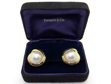 Tiffany & Co. 18k Yellow Gold Mabe Pearl Button Stud Shell Earrings Omega Backs