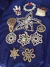 Lot 11 Vintage Crochet Christmas Ornaments Xmas Snowflake Snowflakes 20906