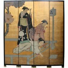Oriental Screen-Japanese Lady w/ Kimono on Gold Background Room Divider (SN4-JP)